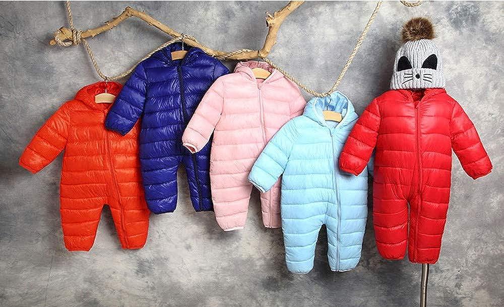 Mingfa Newborn Baby Boys Girls Winter Warm Jumpsuit Romper Snowsuit Thick Zip Hooded Down Coat Outwear 0-24 Months