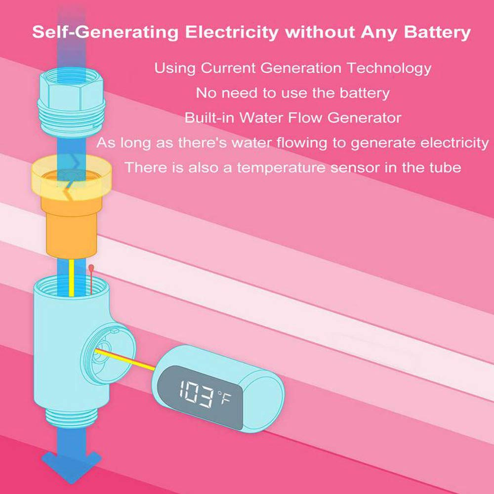 Ccralx Led Thermometer Self Generating Electricity Water Temperture Meter Baby Shower Warm Creative No Power Consumption Temperature