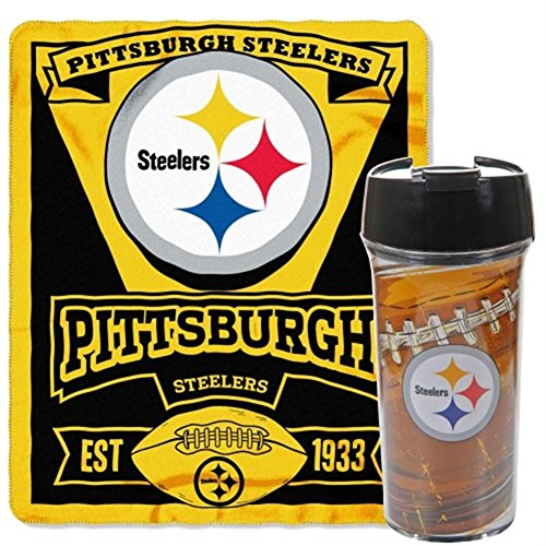 NFL Pittsburgh Steelers Printed Fleece Throw and 16-ounce Travel Mug