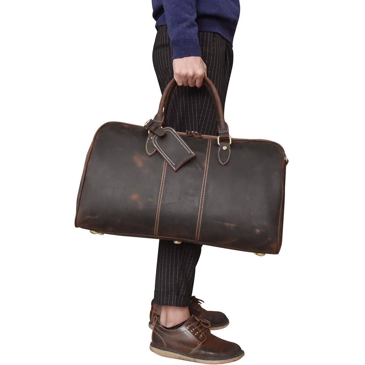 Men's Genuine Leather Travel Duffle Large Cow Leather Weekend Bag Overnight Messenger darkbrown 50cm