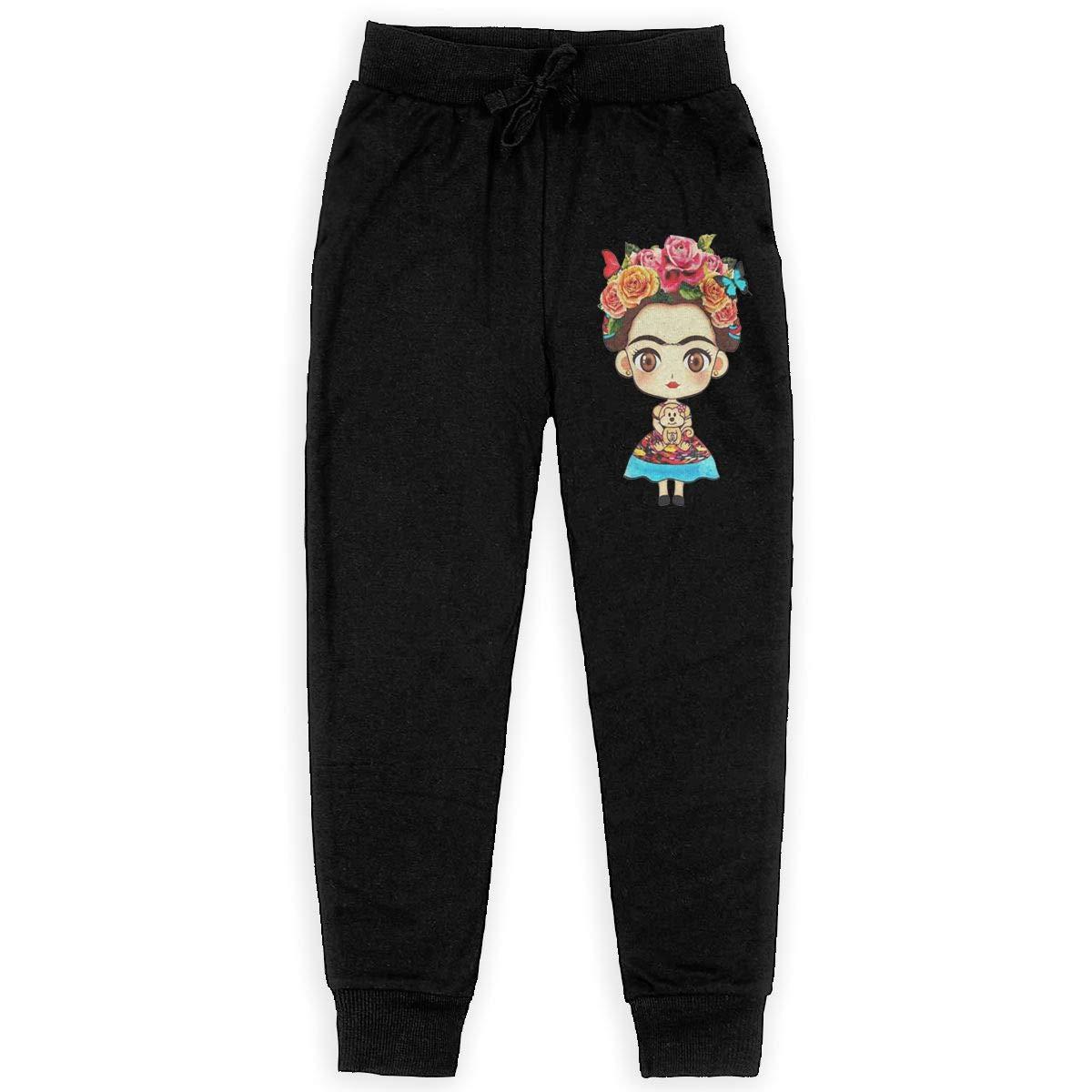 Kim Mittelstaedt Frida Kahlo Boys Big Active Basic Casual Pants Sweatpants for Boys Black