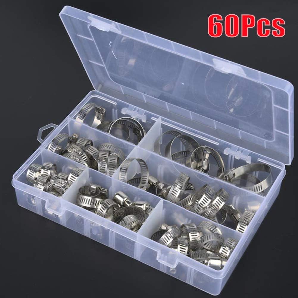 HELLOGIRL 60 pi/èces en acier inoxydable tuyau tuyau cerceau solide collier de serrage fil assorti avec bo/îte