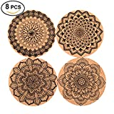 Seamersey Cork Coasters For Drinks Absorbent and Reusable - 4 Inches Perfect for Most Kind of Glasses - 1/5'' Thick Mandala Style- Save Your Furniture Surface From A Liquid Ring - Set of 8