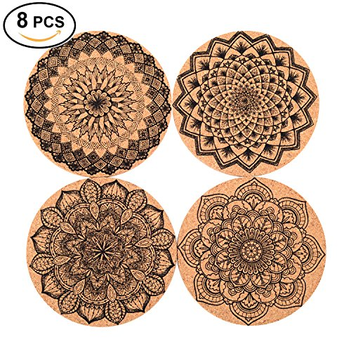 Seamersey Cork Coasters For Drinks Absorbent and Reusable - 4 Inches Perfect for Most Kind of Glasses - 1/5'' Thick Mandala Style- Save Your Furniture Surface From A Liquid Ring - Set of 8 by Seamersey