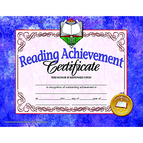 - Hayes H-VA677BN Reading Achievement Certificate, 8.5