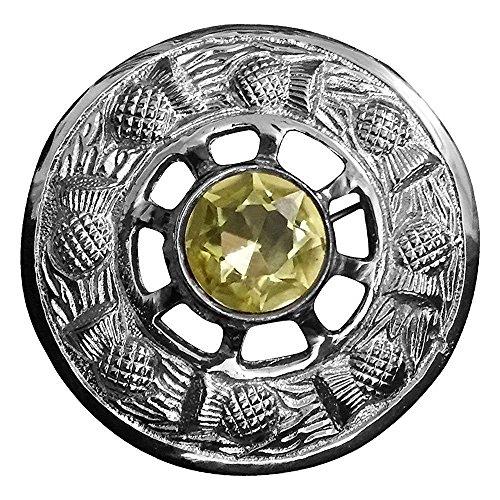 AAR Scottish Fly Plaid Brooch Yellow Stone Chrome Finish 3