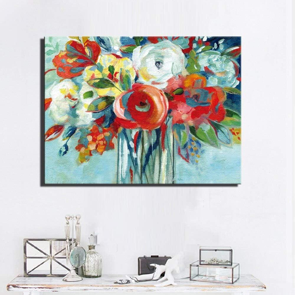 HGlSG Modern Flowers Carteles e Impresiones de Gran tamaño Color Rojo Sbstract Flowers Pintura al óleo Impresión en Estilo Arte de Pared Decoración del hogar A1 50x70cm