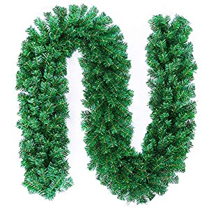 MeetUs 9 ft Artificial Holiday Garland for Christmas Decorations - Soft Green Holiday Decor for Outdoor or Indoor Use - Home Garden Artificial Greenery Wedding Party Decorations,200 Branches 72
