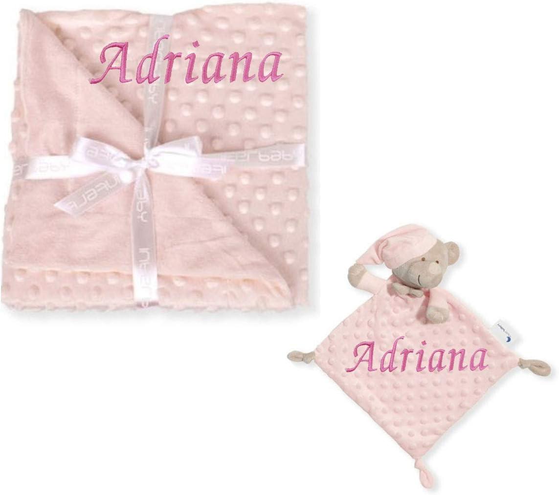 Manta para bebé BORDADA con nombre modelo de topitos y trapito doudou peluche a juego PERSONALIZADO con nombre bordado (Rosa)