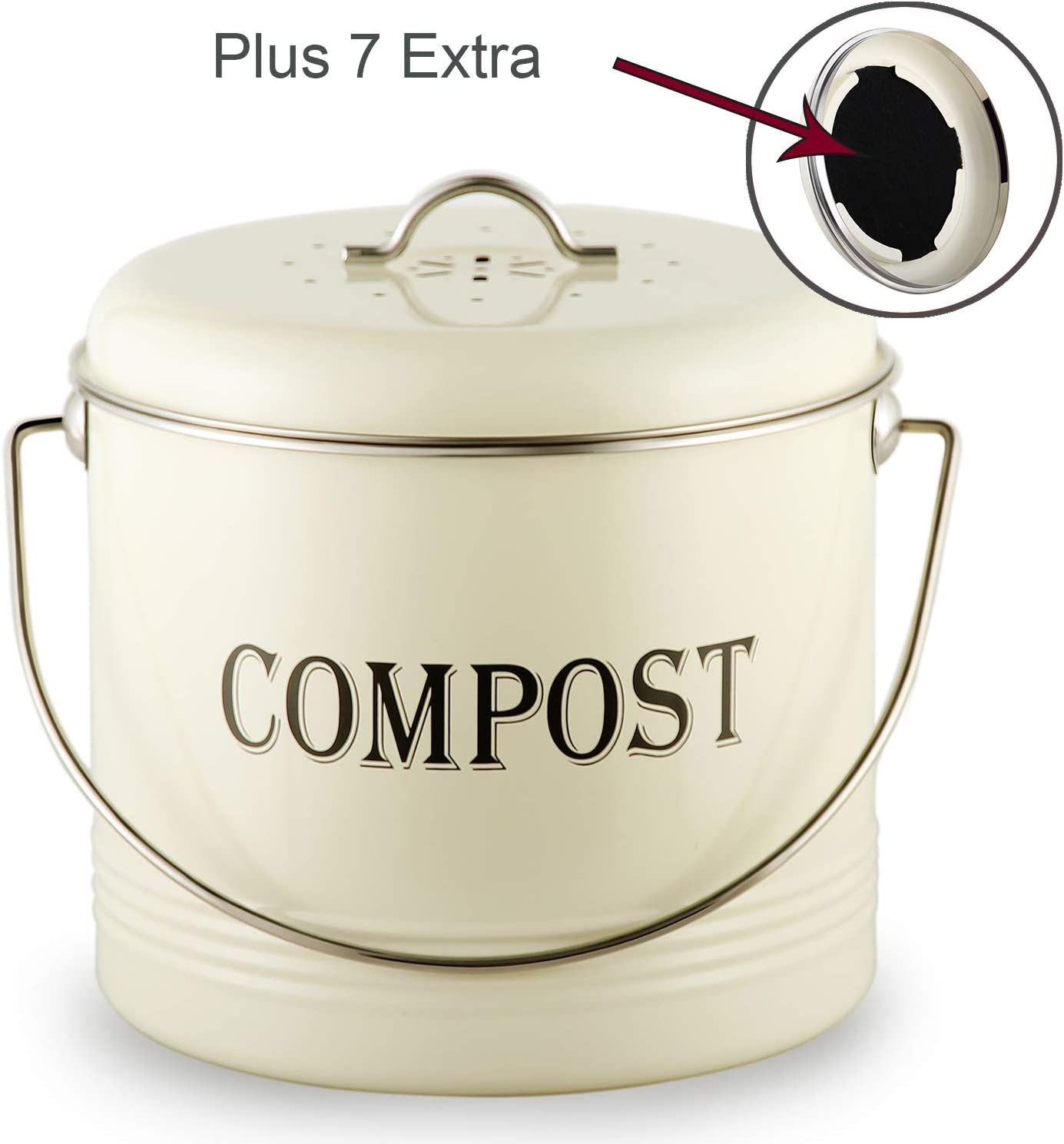 Vintage Compost Bin for Kitchen Countertop-Indoor Scraps Compost Bucket With Lid-Flies/Odor Proof Compost Container Kitchen Pail With 7 BONUS Charcoal Filters, 1.3 Gal, Beige