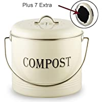 Vintage Compost Bin for Kitchen Countertop-Indoor Scraps Compost Bucket With Lid-Flies/Odor Proof Compost Container Kitchen Pail With 7 BONUS Charcoal Filters, 1.3 Gal, Beige