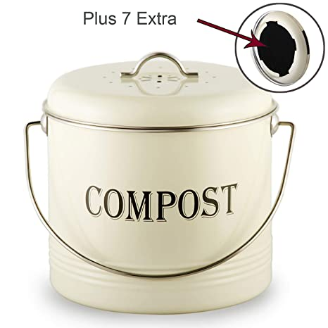 Amazing Vintage Kitchen Compost Bin Indoor Scraps Compost Bucket Container With Lid Flies Odor Proof Compost Keeper Pail Countertop Trash Recycle Bin With 7 Download Free Architecture Designs Parabritishbridgeorg