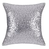 native girl seat covers - Bling Sequins Throw Pillow Cover - PONY DANCE Glitter Sequins Cushion Cover Sofa Pillow Case for Wedding Decoration Including Hidden Zipper,18 x 18 inches,1 Cover Pack,Silver