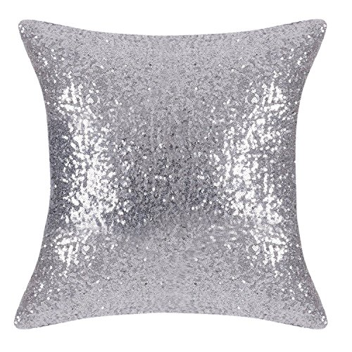 PONY DANCE Throw Pillow Cover - Bling Sequin Glitter Sequins Cushion Cover Sofa Pillow Case for Wedding/Christmas Decoration Including Hidden Zipper, 18 x 18 inches, Silver, 1 Cover Pack