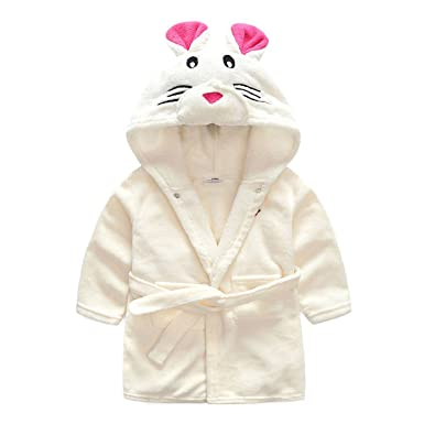 TOLLION Toddlers Kids Hooded Robe Soft Fleece Bathrobe Boys Girls Pajamas  Baby Sleepwear (2T 1a2f61384