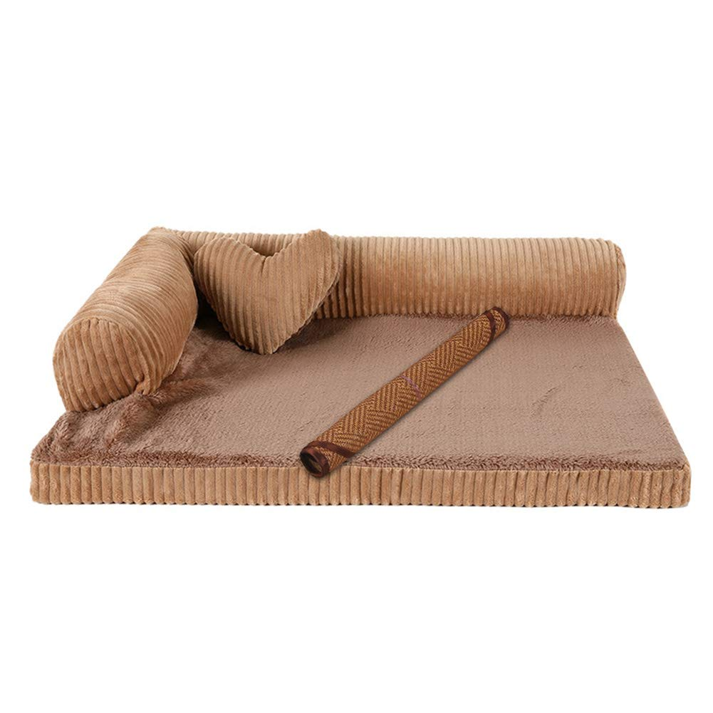 Khaki 68×57×17cmZXL Pet Dog Bed, Orthopedic Couch Pet Bed for Dogs and Cats, Removable and Washable, for Large Medium Dog (color   Khaki, Size   68×57×17cm)