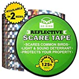 Bird Repellent Scare Tape- Simple Control Device to Keep Away Woodpeckers, Pigeons, Grackles and More. Deterrent Works Great With Netting And Spikes. Stops Damage, Roosting and Mess.