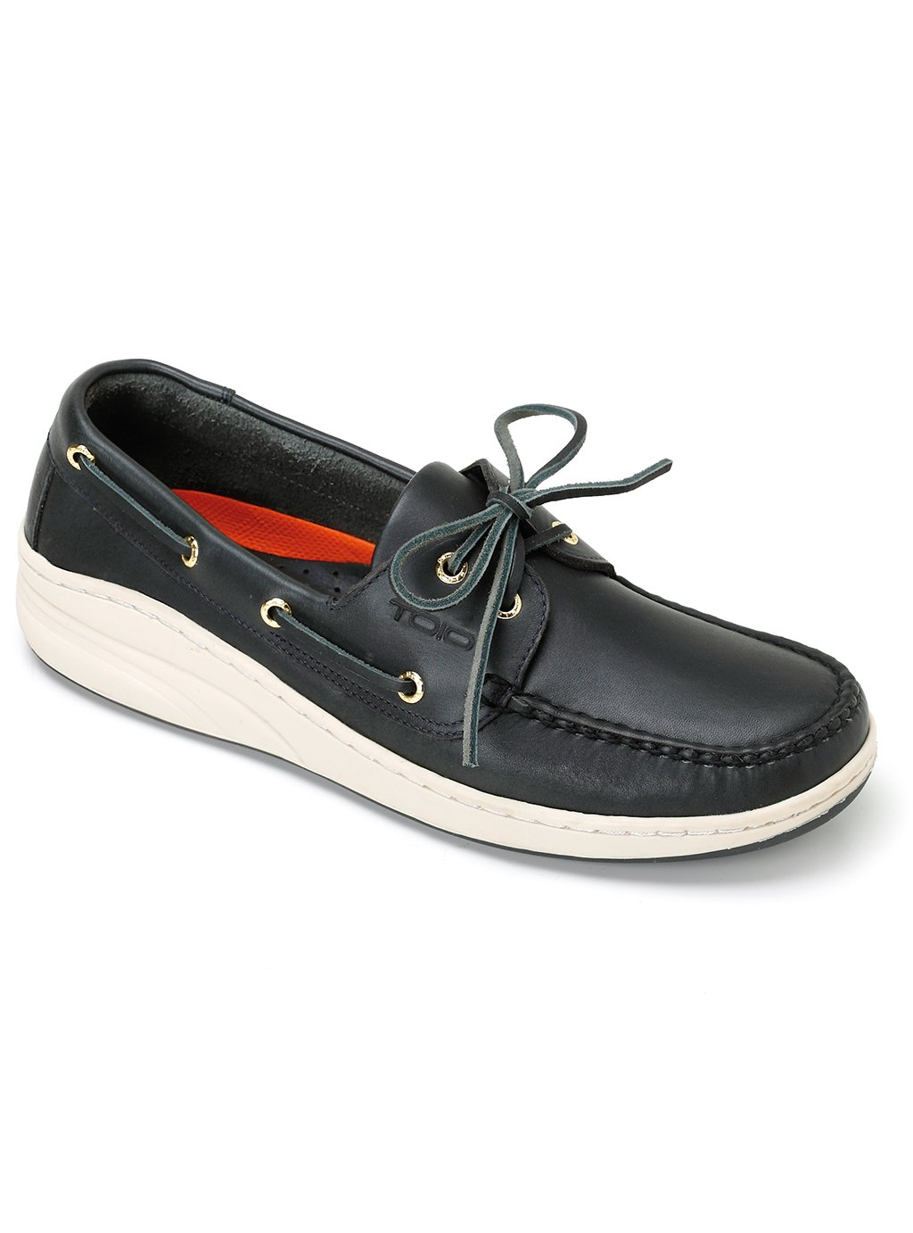 TOIO Uomo MARINE scarpe MOCASSIN Handcrafted 100% leather Navy rubber sole with anti-slip tread 42 Leather boat show with laces and eyelets…