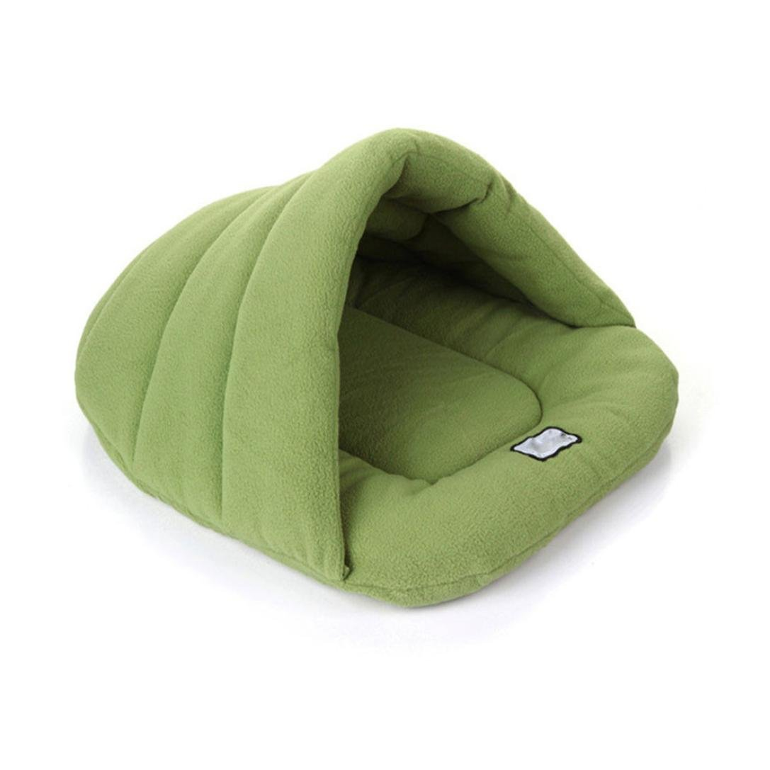 Dreamyth New Warm Winter Puppy Cave House Sleeping Bag Mat Pad Puppy Pet Cat Dog Nest Bed (Green, L)