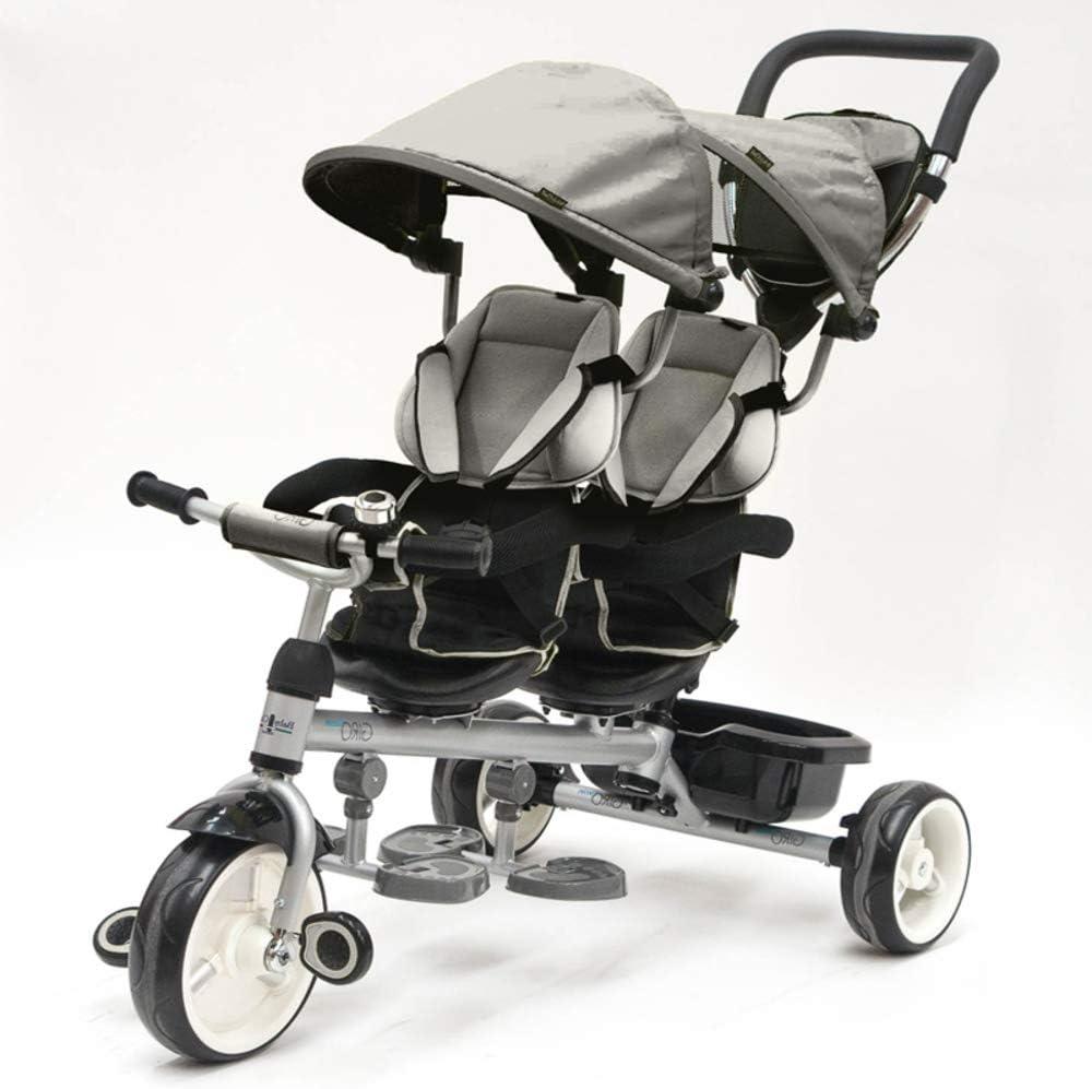 QPLAY - Triciclo Bebe Gemelar Gris - Evolutivo - Plegable - Barra de Seguridad y Cinturones - Ideal para niños de 10 a 36 Meses (máximo 50 Kg)