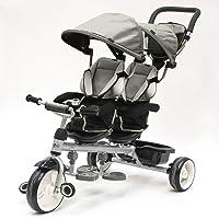 QPLAY - Triciclo Bebe Gemelar Gris - Evolutivo