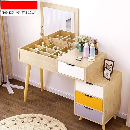 LINrxl Mesa de tocador con Tapa abatible Espejo Maquillaje de ...