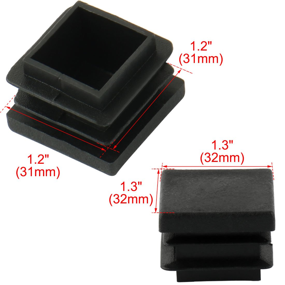 32mm x 32mm Plastic Square Caps Tube Pipe Inserts End Blanking 24 Pcs