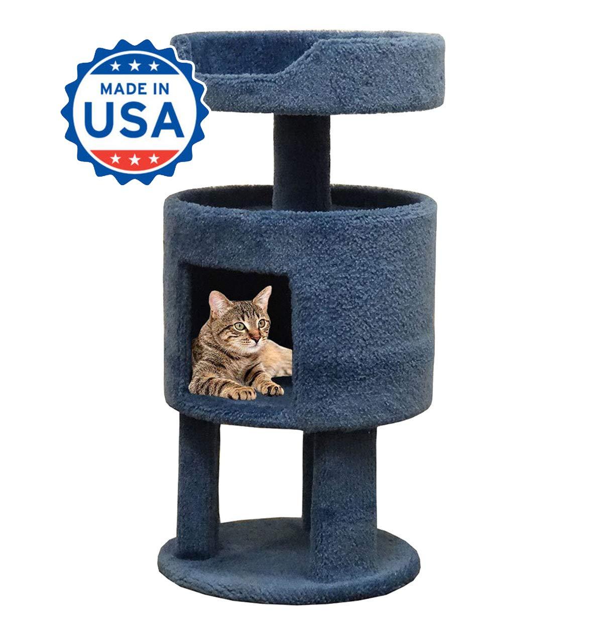 Wood Kitty Condo Carpet Cat Perch, Blue Carpet by CozyCatFurniture