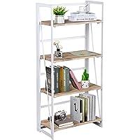 FurnitureR Sin Ensamblaje Estantes Plegables con 4 Repisas Estilo Moderno y del Norte de Europa Elegante Librero…