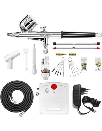 Gocheer mini kit aerografo con compresor profesional accion dual aerografo 0.2 0.3 0.5 mm boquillas para