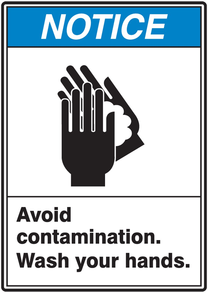 "Accuform MRST809VP Plastic Safety Sign, Legend""Notice Avoid Contamination WASH Your Hands"" with Graphic, 10"" Length x 7"" Width x 0.055"" Thickness, Blue/Black on White"