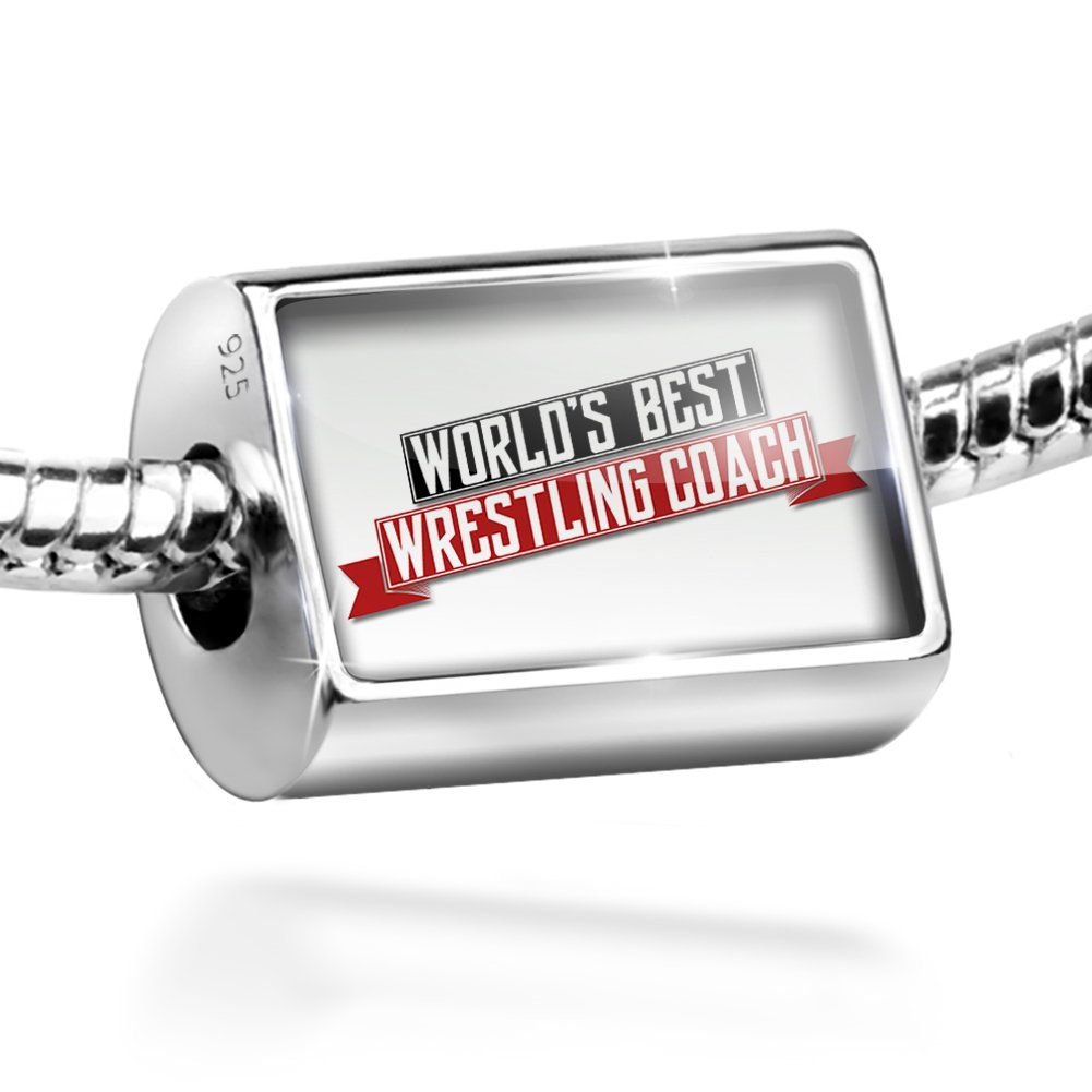 Sterling Silver Bead Worlds Best Wrestling Coach Charm by NEONBLOND