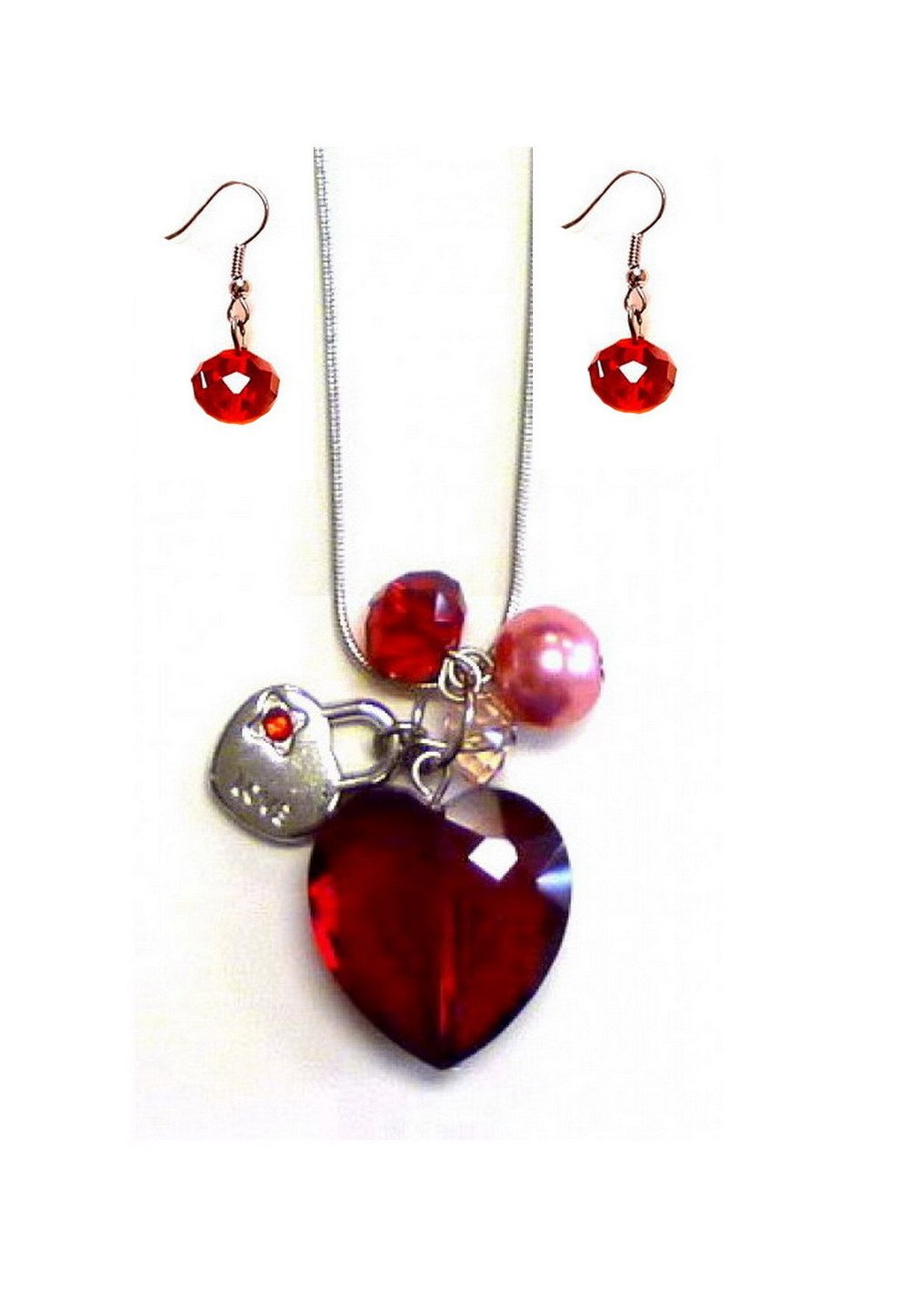 Faceted Crystal Heart Charm Ne...