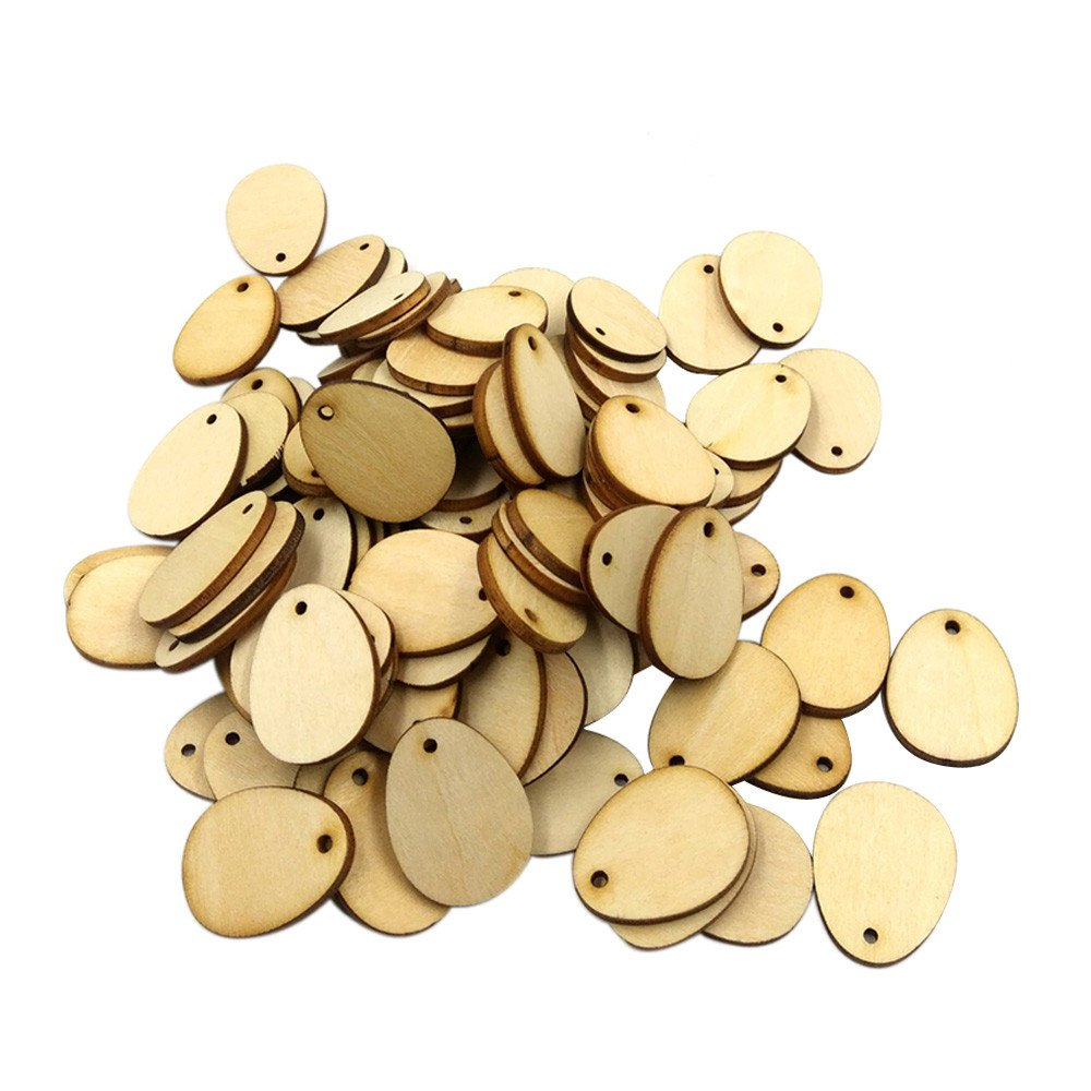 100 PCS Wooden Easter Eggs Bulk Painting Easter Eggs Craft Decorations Tag for Sewing DIY Scrapbooking (20mm)
