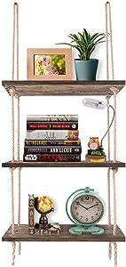Wall Hanging Shelves,Farmhouse Floating Shelf, 3-Tier Rustic Home Wall Décor, Distressed Wood Jute Rope Ladder Shelves ,Swing Storage Bookshelf (3-Tier Dark Brown)