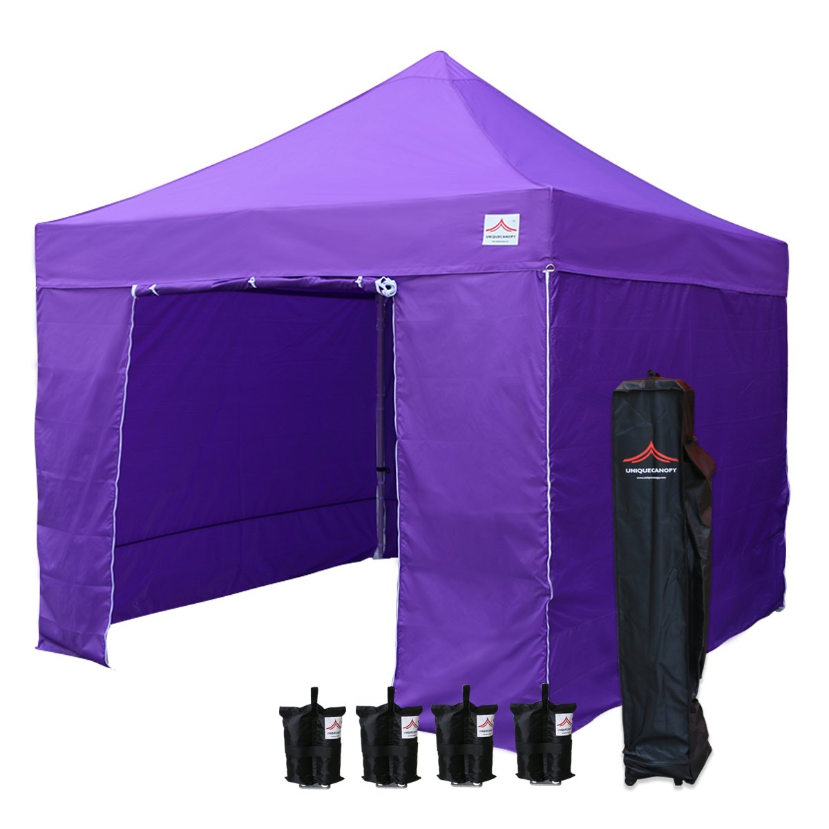 UNIQUECANOPY 10x10 Ez Pop up Canopy Tents for Parties Outdoor Portable Instant Folded Commercial Popup Shelter, with 4 Zippered Side Walls and Wheeled Carrying Bag Bonus 4 Sandbags Purple