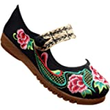 KINDOYO Chinese Traditional Shoes - Ladies Retro Old Beijing Shoes Mary Jane