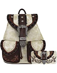 Western Style Daypack Buckle Backpack Fashion School Bag Women Purse Wallet Set