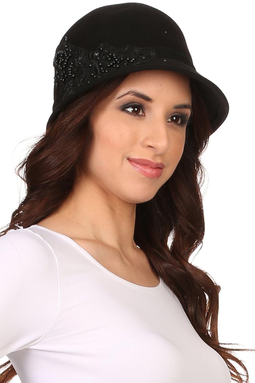 Sakkas Perla Vintage Wool Cloche Bucket Embroidered Beaded Embellished Hat Cap $24.99 AT vintagedancer.com