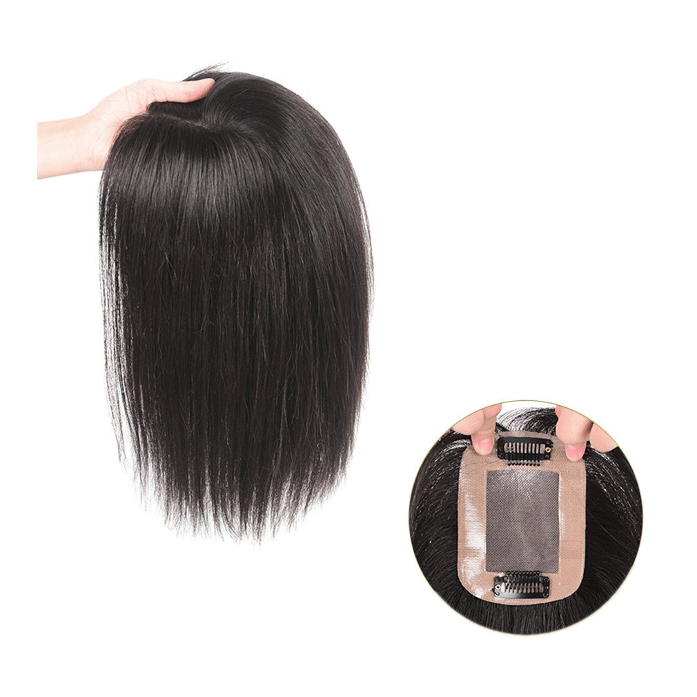 Moreal 3'' x 4'' Remy Human Hair Top Piece Hand Made Mono Topper Clip in Crown Topper for Women (12'', Natural Black)