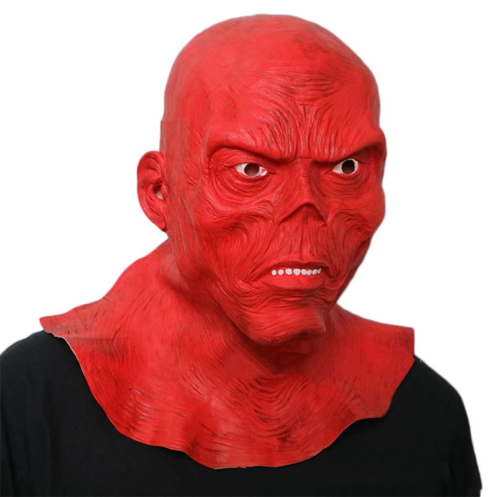 GXDHOME Maschera di Halloween in Lattice, rosso Skull Devil Masquerade Horror Bloody Zombie Fantasma Creepy Fancy Dress Costume