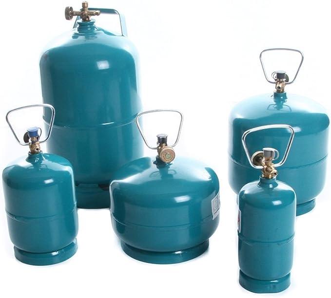 rg-vertrieb Botella de Gas vacía rellenable, propano, butano, Camping, Barbacoa, Quemador de Gas, cocción, Botella rellenable, 0,5 kg, 1 kg, 2 kg, 3 ...