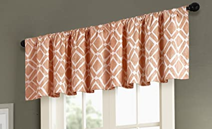 Orange Curtains For Living Room, Modern Contemporary Curtains For Bedroom,  Delray Diamond Print Fabric