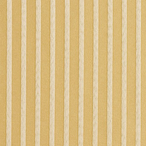 Yellow Stripe Upholstery Fabric - Flax Gold and White Small Stripe Damask Upholstery Fabric by the yard