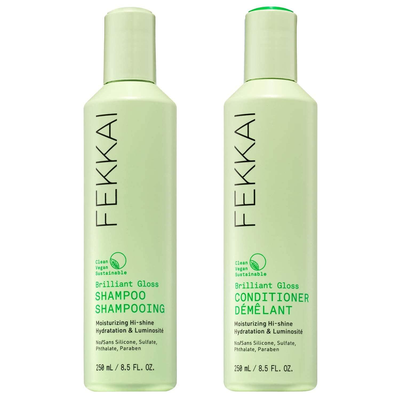 FEKKAI Brilliant Gloss Shampoo and Conditioner Bundle, Moisturizing Hi-Shine, Boost Gloss, Clean, Vegan, Sulfate Free (8.5oz)