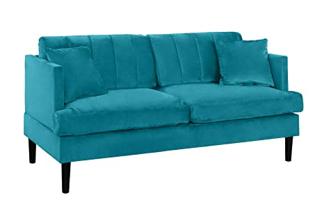 Prime Mid Century Large Velvet Loveseat Sofa Living Room Couch Blue Cjindustries Chair Design For Home Cjindustriesco