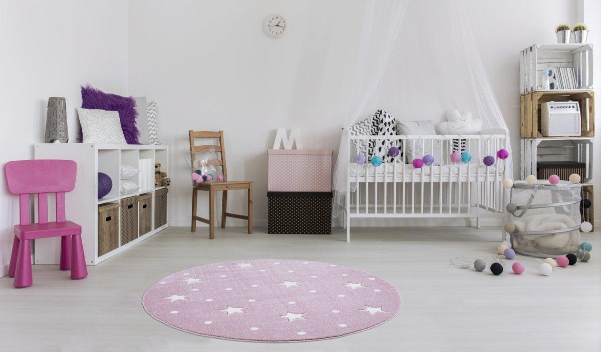 Tapis pour enfant Kids Love Rugs HEAVEN rose//blanc 133cm rond