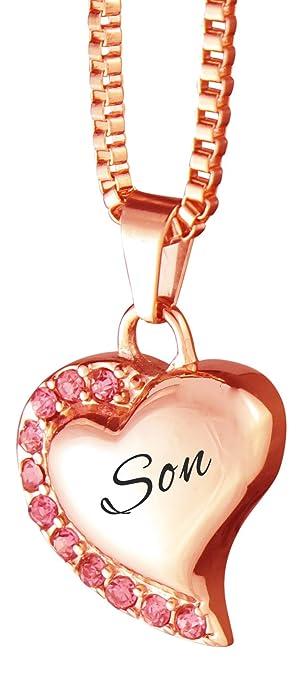 19b6003299f6 Love to Treasure Collar con colgante de oro rosa con forma de corazón con  cristales rosas y grabado personalizado - Joyería conmemorativa de recuerdo  de ...