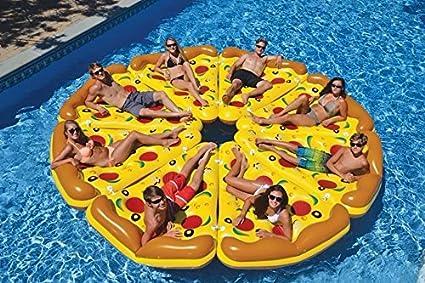 Colchoneta Hinchable - Piscina - Colchón De Aire - Flotador Ideal para Vacaciones y Vistosa (Pizza): Amazon.es: Juguetes y juegos
