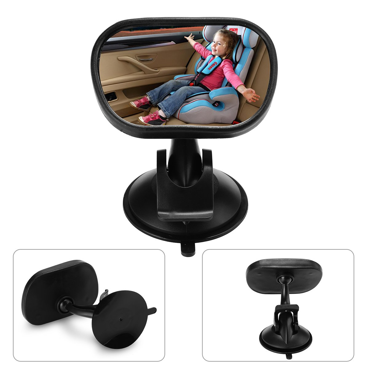 Ecbrt Baby Car Mirror, Safety & Adjustable Rotation Shatter-proof Child Rear View Mirror, Sucktion Cup on Windshield or Clip on Car Sun Visor